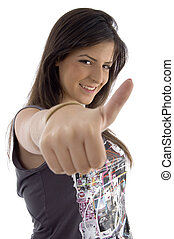 portrait of female with thumbs up on an isolated background