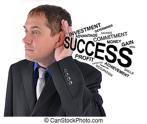 Business Man Listening to Success Help - A business man is...