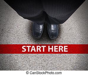 negócio, homem, começar, linha, estrada,...