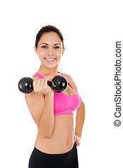 sport fitness woman, young healthy girl smile gym exercises...