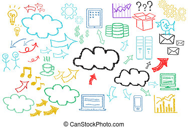 Hand written cloud computing themed pictures