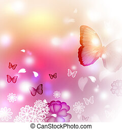 Blossoms and Butterflies Illustration - Blossoms and...