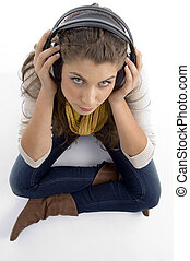 high angle view of woman wearing headset against white...