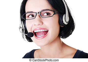 Attractive customer support representative - Closeup of...