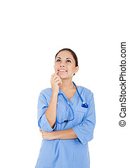 woman doctor, nurse - nurse doctor woman smile think looking...