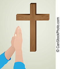 prayer to God - Illustration religious person kneeling in...