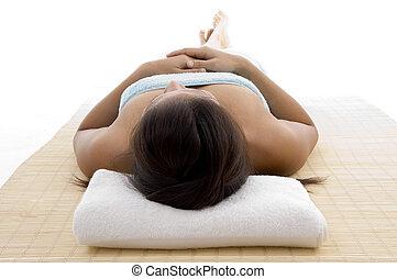 laying model ready to take massage