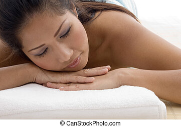 close up of relaxing beautiful woman - close up of relaxing...