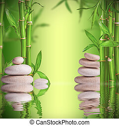 Spa still life with white stones and bamboo sprouts with...