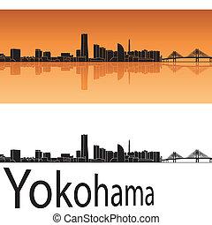 Yokohama skyline in orange background in editable vector...