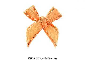 orange ribbon bow - orange ribbon bow isolated on white...