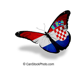 Croatian flag butterfly flying, isolated on white background