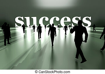 Walking towards Success - Walking towards success. 3D...