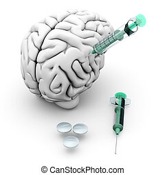 Brain Medication - Brain medication Pills and syringes and a...