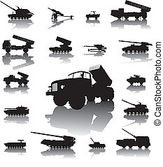 Artillery set - Howitzer and rocket artillery silhouettes...