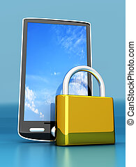 Smartphone Lock - A locked smartphone. 3D rendered...