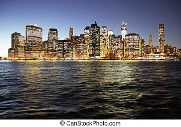 New York City by night - The New York City skyline from...