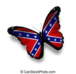 Confederate Rebel flag butterfly, isolated on white