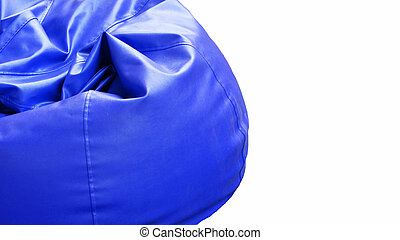 Bright blue leather Armchair isolated on white