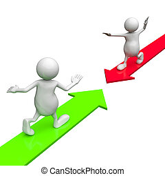 3D people riding red and green arrow on white background