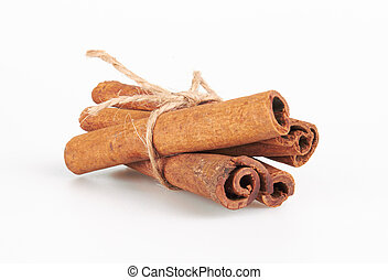 Cinnamon sticks isolated on white background