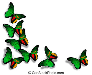 Zambia flag butterflies, isolated on white background -...