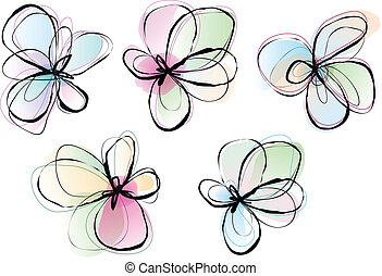 abstract flowers, vector set - abstract flower, ink drawing...