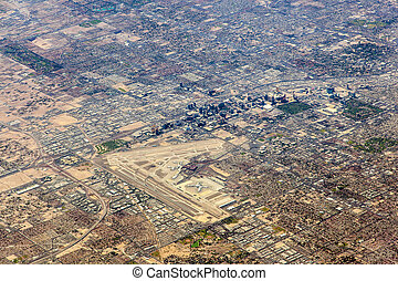 aerial of Las Vegas with strip and airport