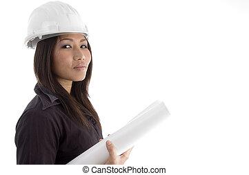 female architect having blueprints against white background