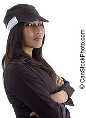 female security guard with folded arms on an isolated white...