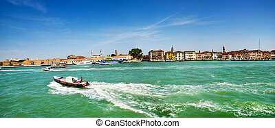 The panorama of Venetian Lagoon, Venice, Italy - The...