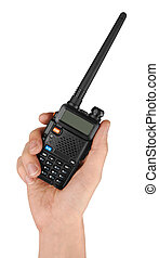 Portable radio transceiver in hand, isolated on white...