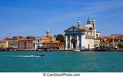 The scenery of Venice from a boat, Italy - The scenery of...