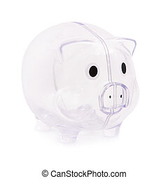 Empty piggy bank isolated on white background - poverty...