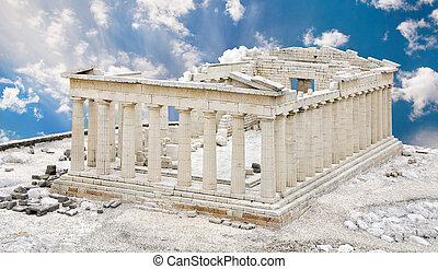 Parthenon Temple in Acropolis, Athens, Greece, against blue...