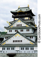 Osaka Castle (Osaka Fortress) in Osaka, Japan, closeup -...
