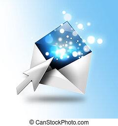 email, letra, com, faíscas, Seta