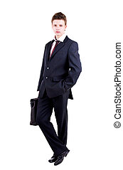 Full length portrait of young man in lounge suit standing