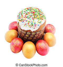 Easter cake with sugar glaze and painted eggs isolated on...