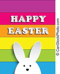 Happy Easter Rabbit Bunny on Rainbow Background