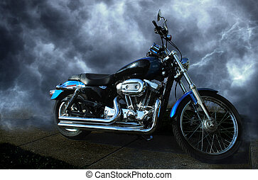 Motorcycle - A Harley Davidson with a dynamic background