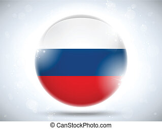 Russia Flag Glossy Button - Vector - Russia Flag Glossy...