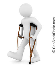 man on crutches on white background Isolated 3D image