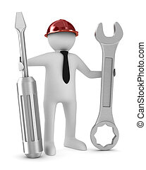 Man with screwdriver and spanner on white background...
