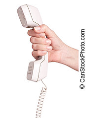 Hand with telephone receiver