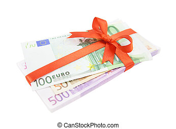The euro money pile bound with a satin red ribbon and bow...