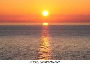 Bright sunrise under the sea with yellow red gradient colors...