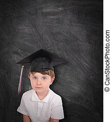 tafelkreide, schueler, junger, studienabschluss, Brett