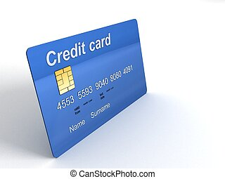 three dimensional credit card on a white background