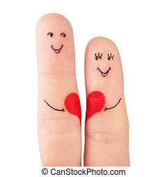 family concept - a man and a woman hold on the red heart,...